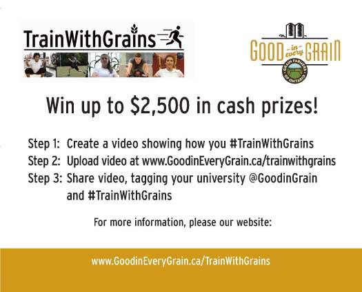 #TrainWithGrains prize graphic