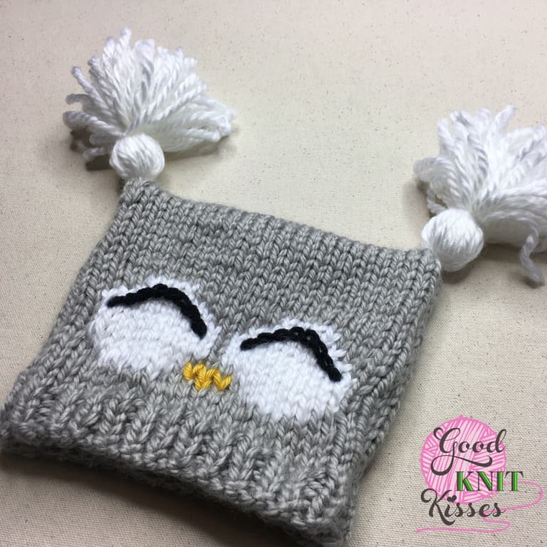 How To Knit A Baby Owl Hat 07