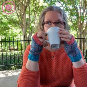 Chic Fingerless Mitts woman sipping coffee