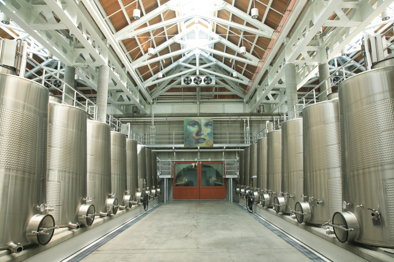 Stainless Steel tanks in Cliff Lede's fermenting room