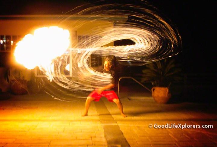 Fire Show Turquoise Bay Resort Roatan Honduras