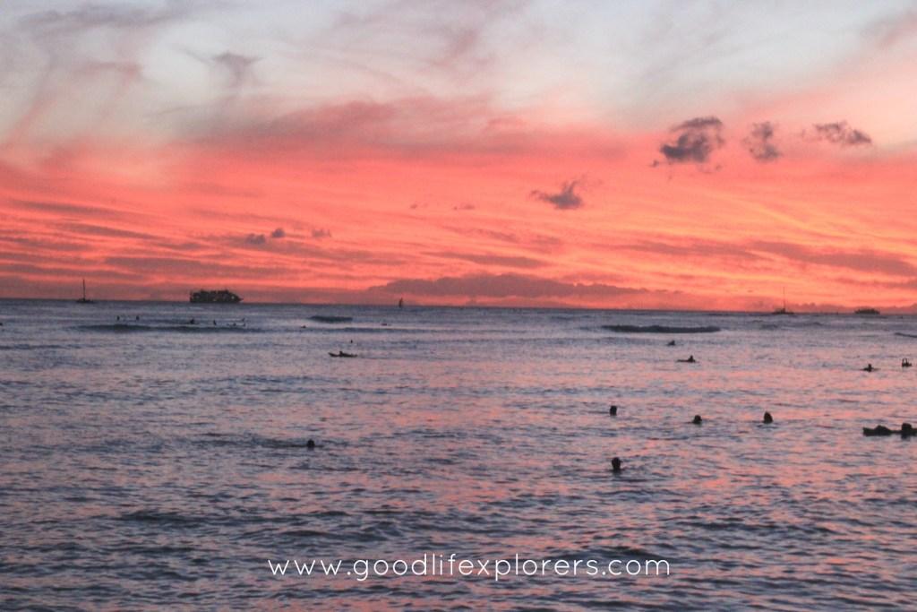 Sunset at Waikiki Beach