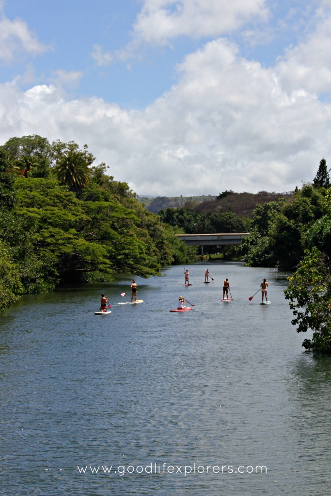 Tourists paddle boarding at the North Shore of Oahu, Hawaii