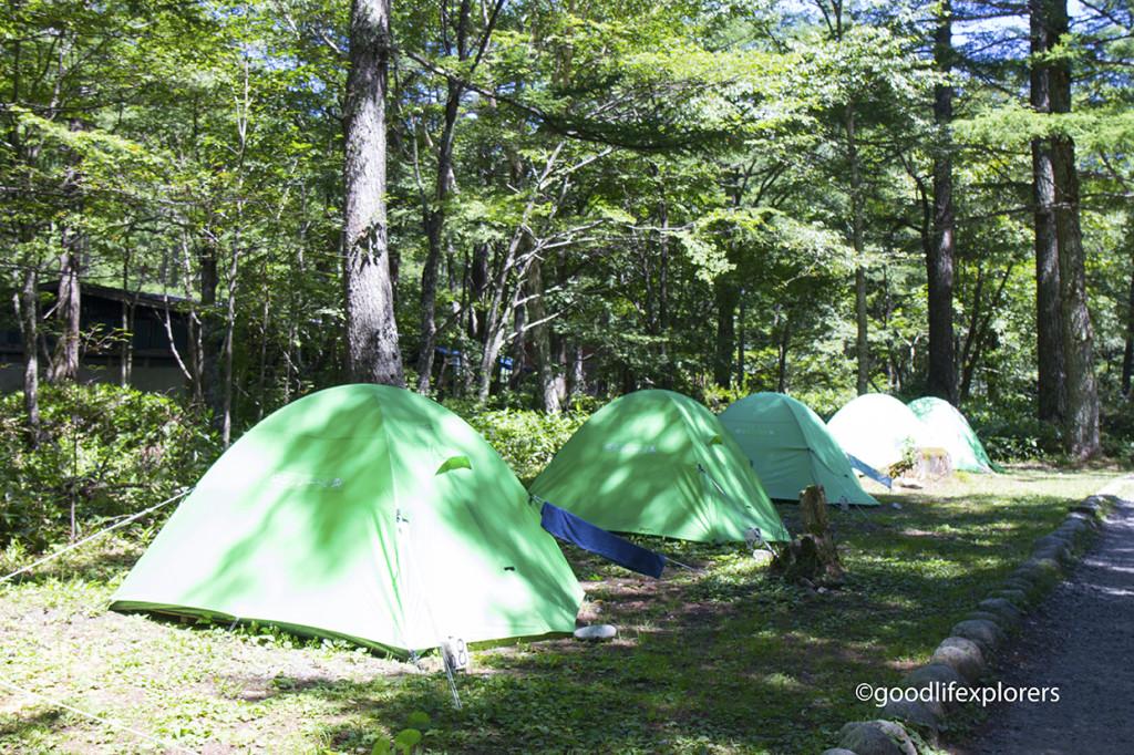 Camping tents at Kamikochi Japan