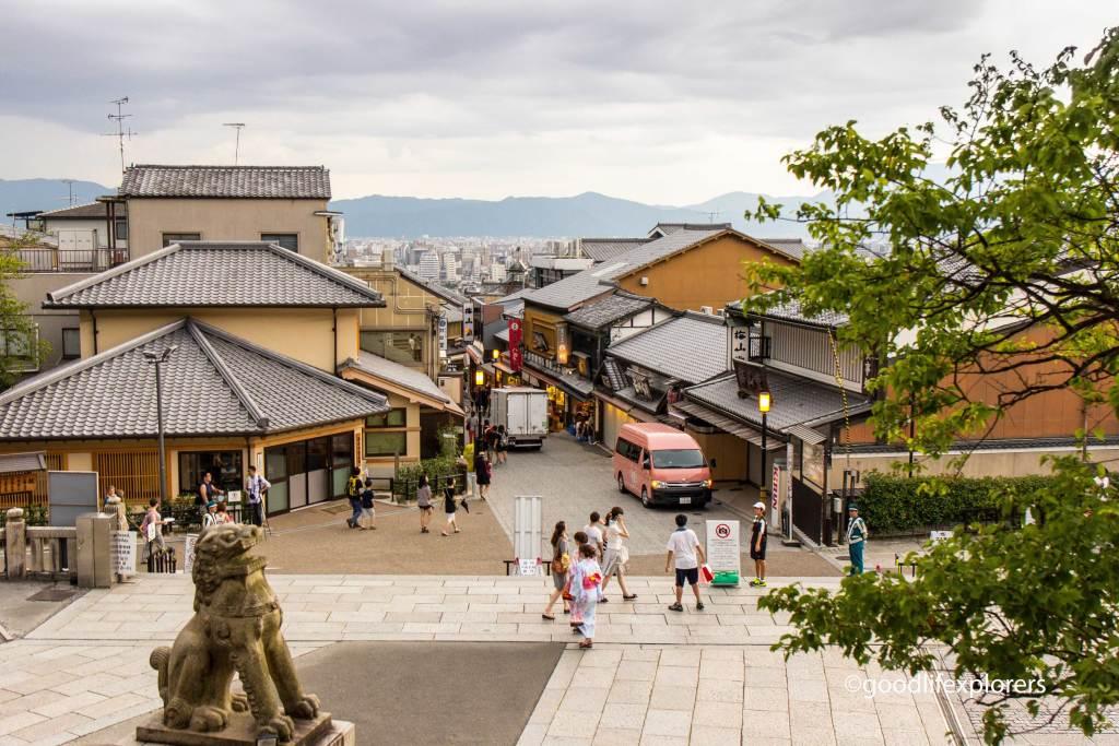 Bottom of Kiyomizudera temple in Kyoto Japan