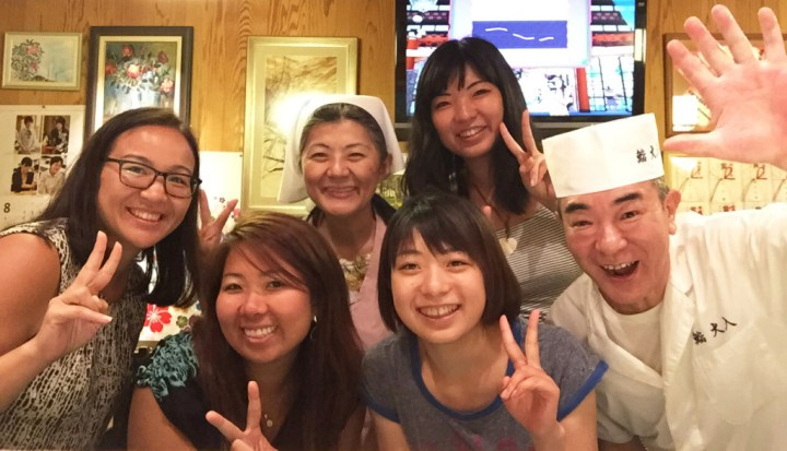 Oiri family in their restaurant in Tokyo.