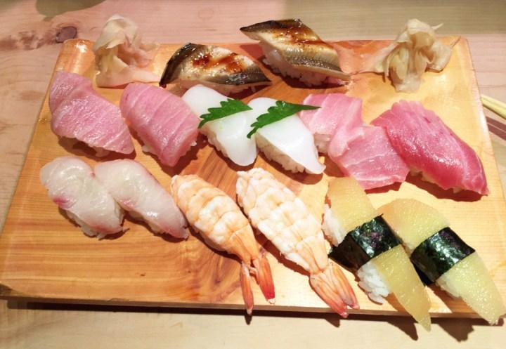 Nigiri selection plate in restaurant in Japan.