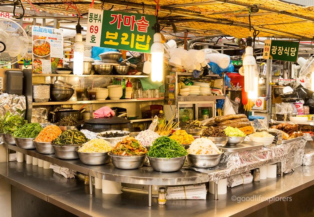Food stall at Gwangjang Market Seoul South Korea