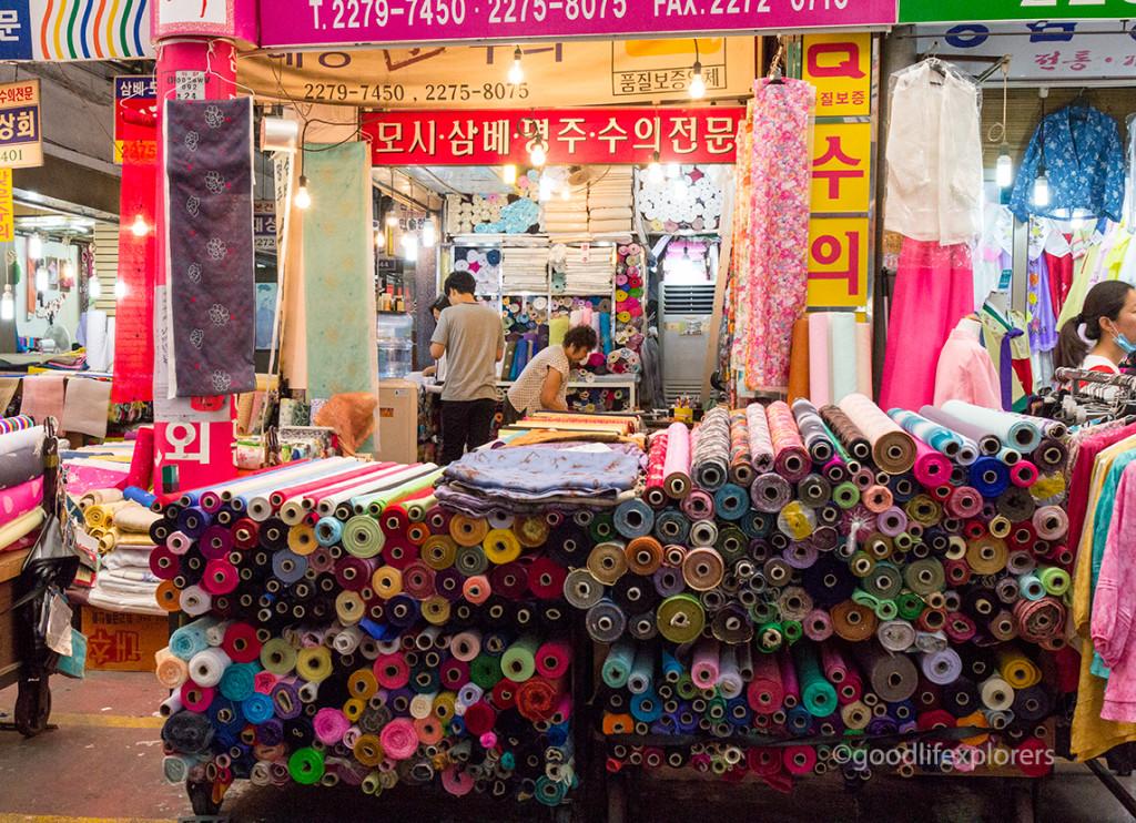 Textiles for sale at Gwangjang Market, Seoul, South Korea
