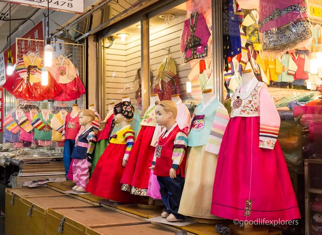 Children's Hanboks for sale at Gwangjang Market, Seoul, South Korea