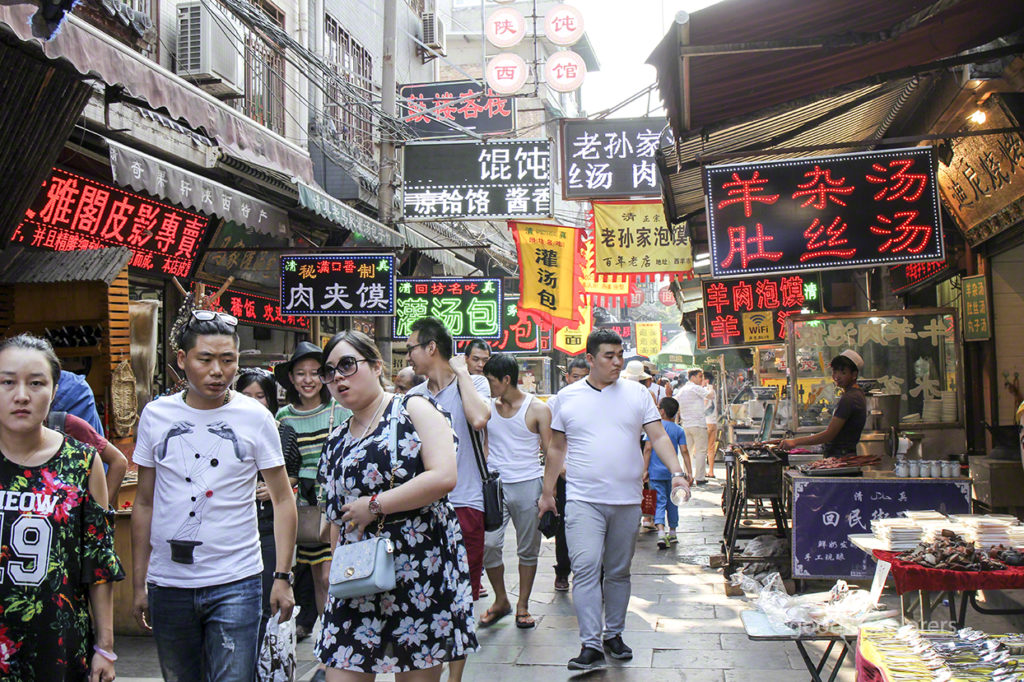 Shoppers at the Muslim Quarter in Xi'an China
