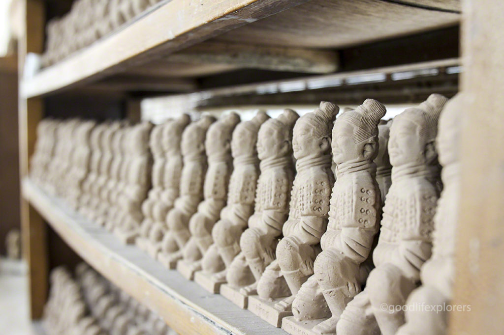 Unfired Clay Figurines of Terracotta Army in Xian China