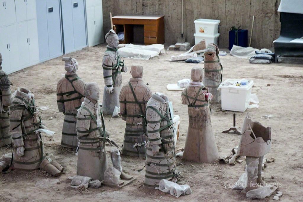 Terracotta Warriors in Xian China being restored