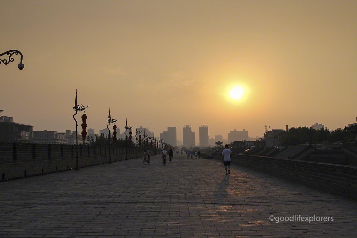Ancient City Wall of Xian China at sunset