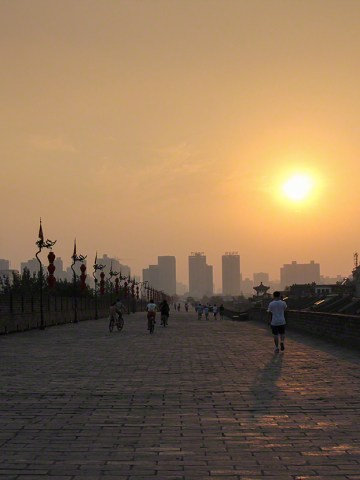Ancient City Wall of Xian China at sunset