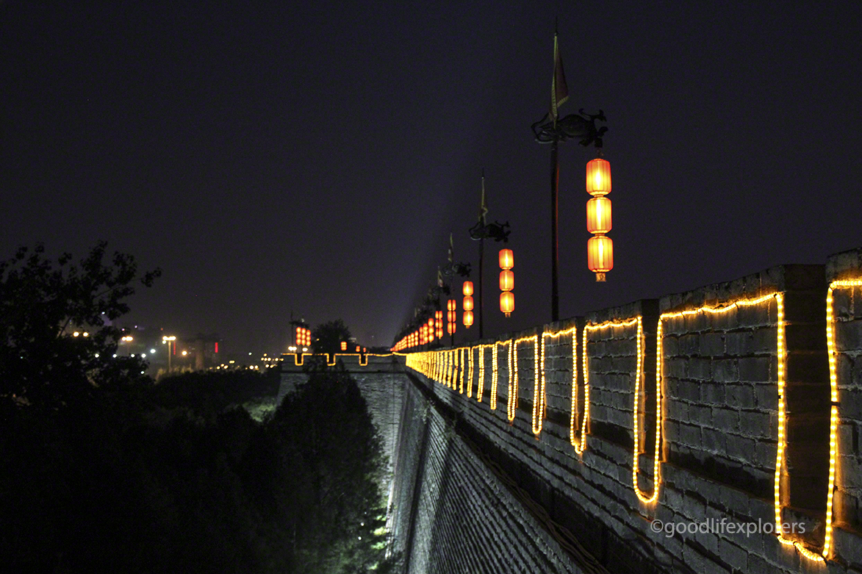 Outside wall of the Ancient City Wall of Xian China at night