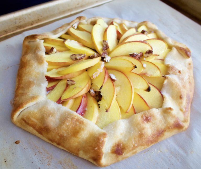Ginger Peach Pecan Galette, recipe, food