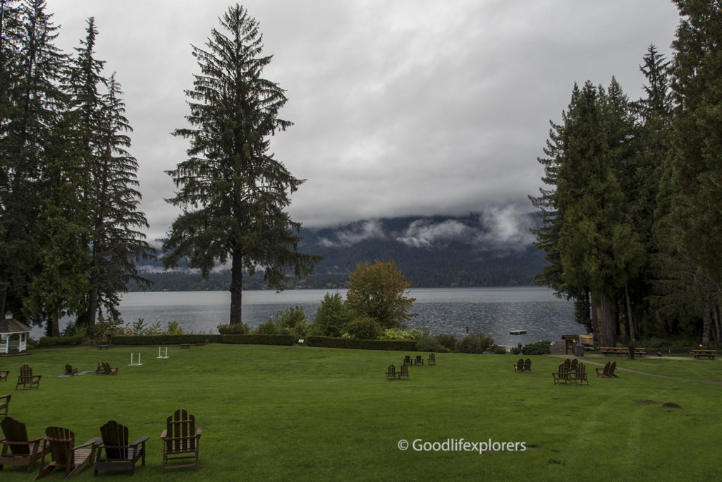 Lake Quinault Lodge lawn and lake view