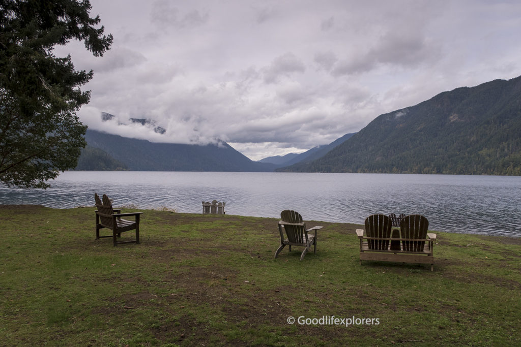 Lake Crescent Lodge chairs on lawn at lake