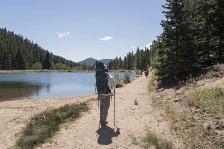 Man hiking at Dude's Fishing Hole trail