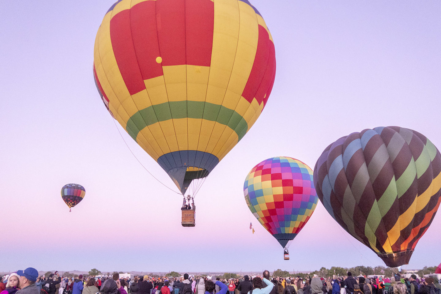 Sunrise Mass Ascension of Hot air balloons at Albuquerque Balloon Fiesta