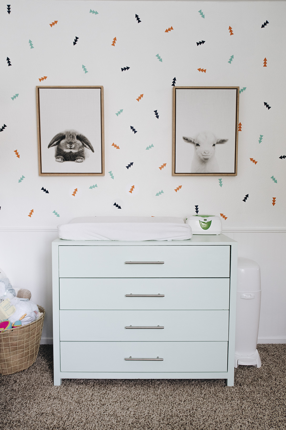 Changing table set up in baby nursery