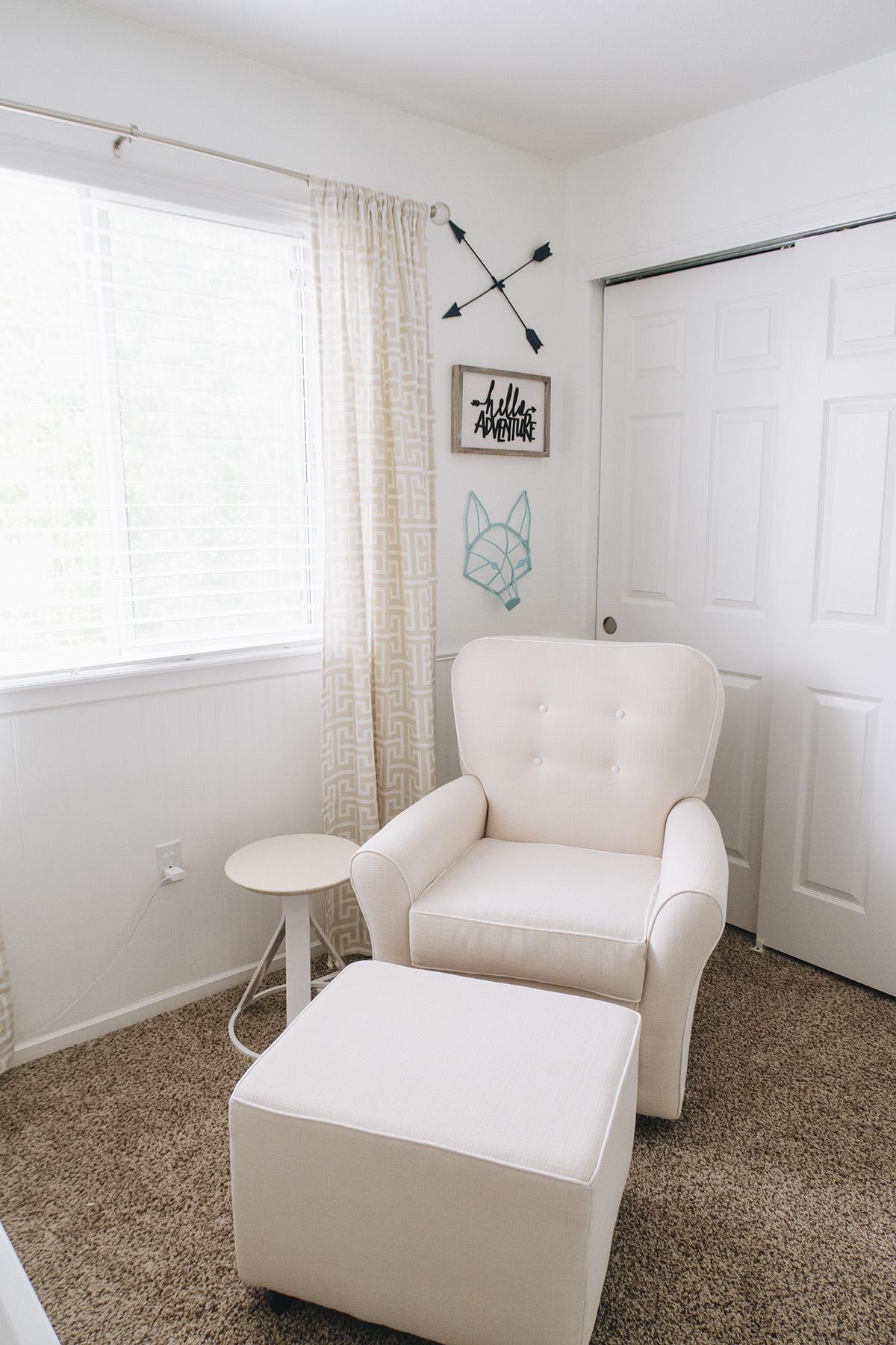 Rocking chair breastfeeding corner of baby nursery
