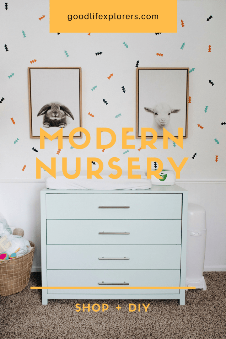 Nursery dresser changing table set up and decor.