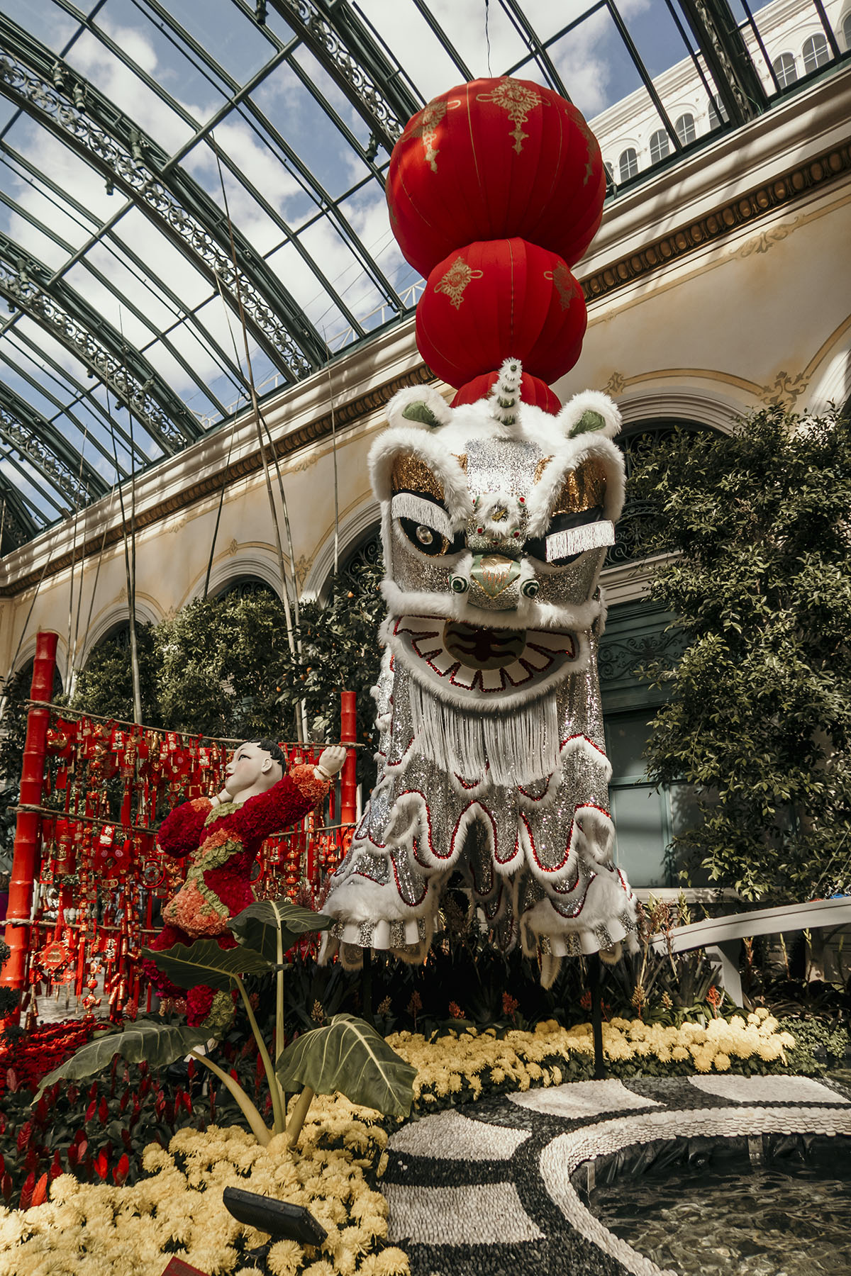 Chinese dragon decoration at the Bellagio hotel in Las Vegas during Chinese New Year's celebrations