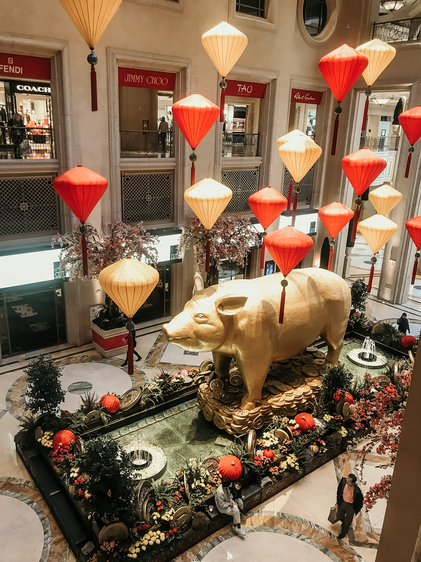 Giant golden pig decoration at the Venetian Hotel in Las Vegas for Chinese New Year's