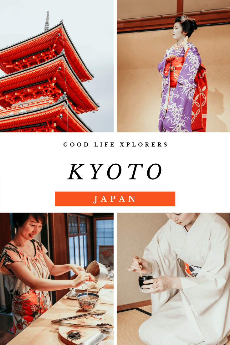 Collage of Japanese Temple, Cooking class, tea ceremony and geisha,4 experiences you must have in Kyoto