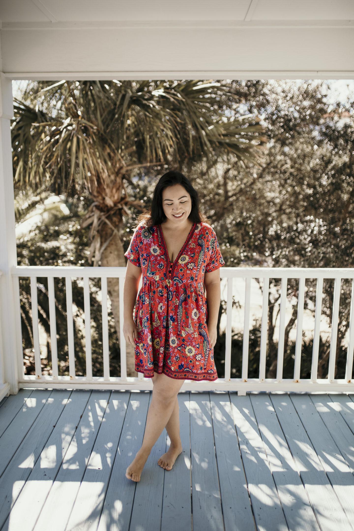 Summer dresses - red floral short with v neck