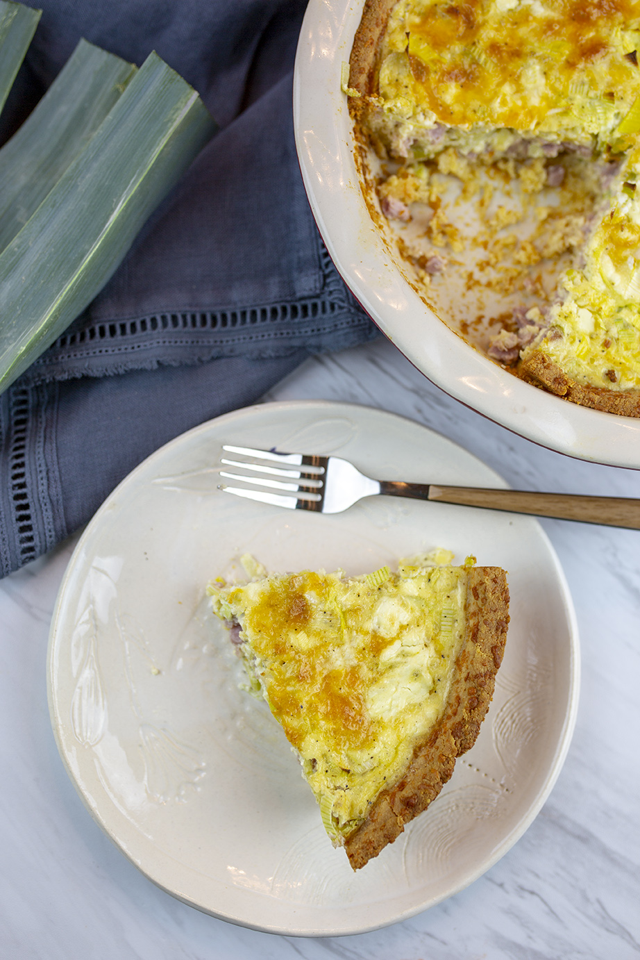 Ham, Leeks and Goat cheese Quiche with low carb pie crust