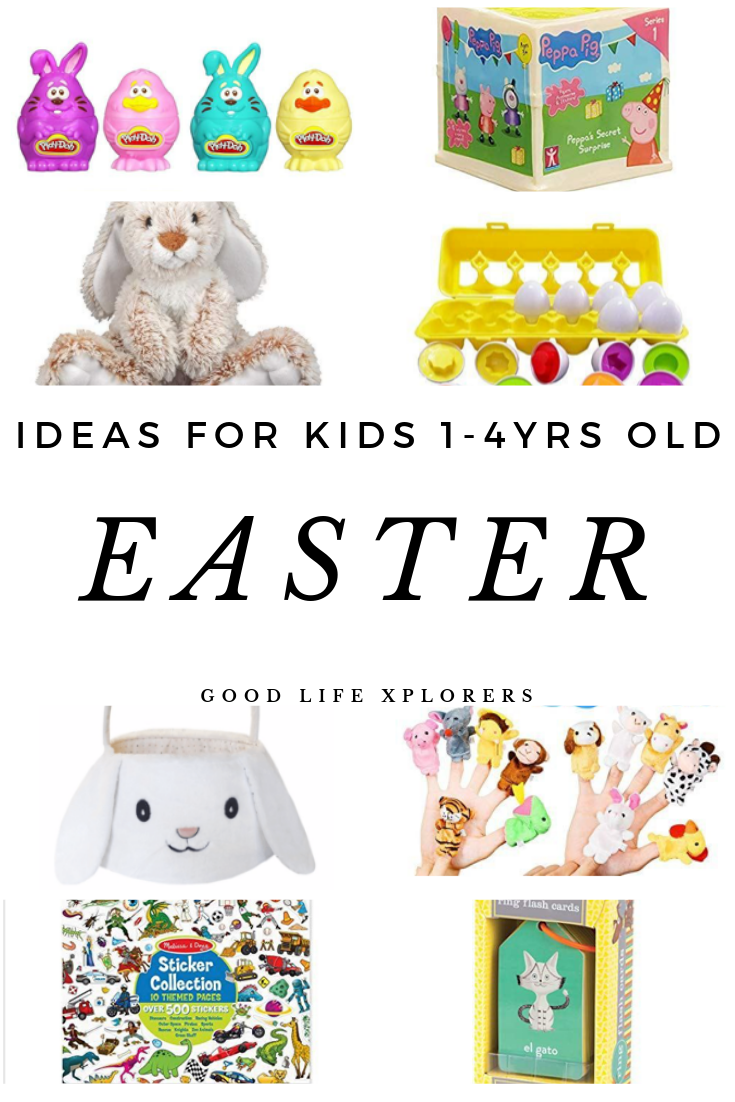 Collage of gifts ideas for kids for Easter.