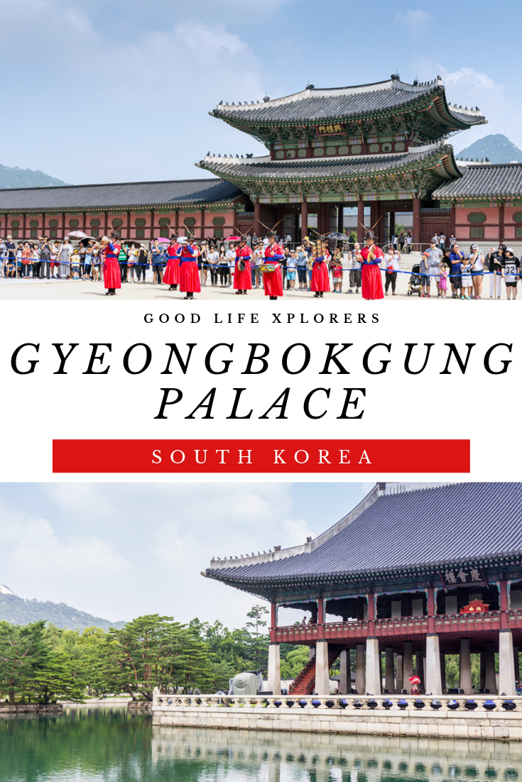 collage of Gyeongbokgung Palace changing of the guards and the pavilion