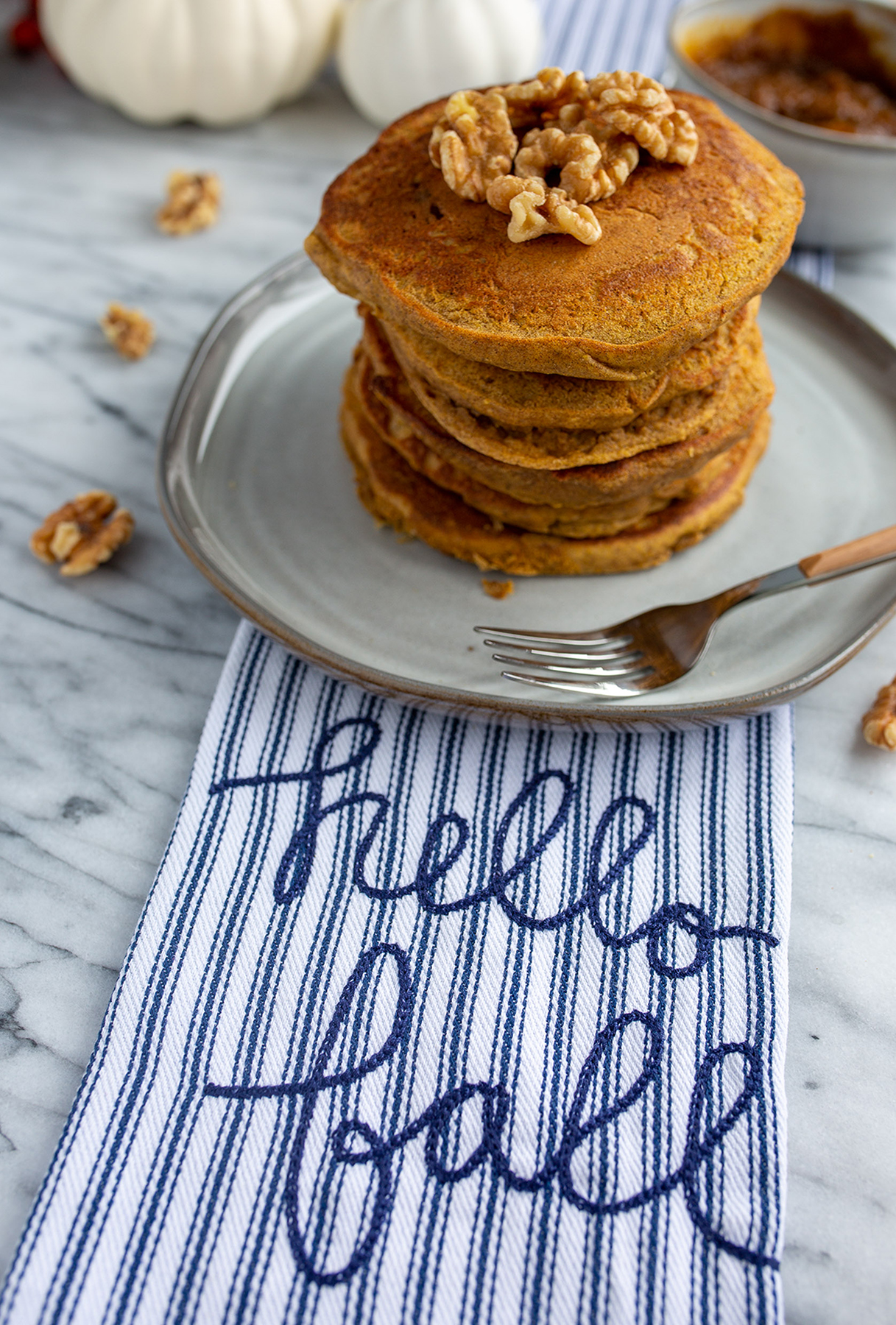 The best pumpkin pancakes served with walnuts