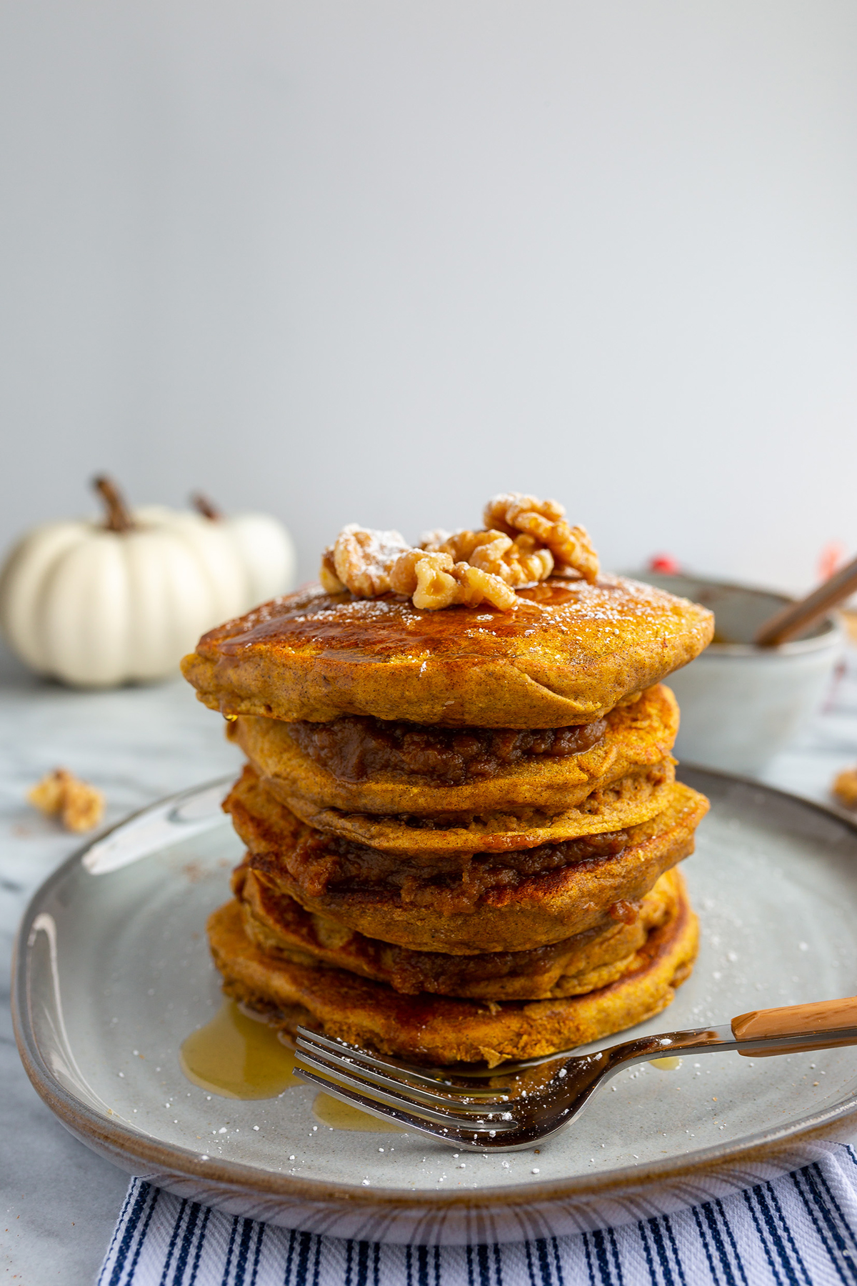Fluffy, made from scratch pumpkin pancakes are perfect for fall