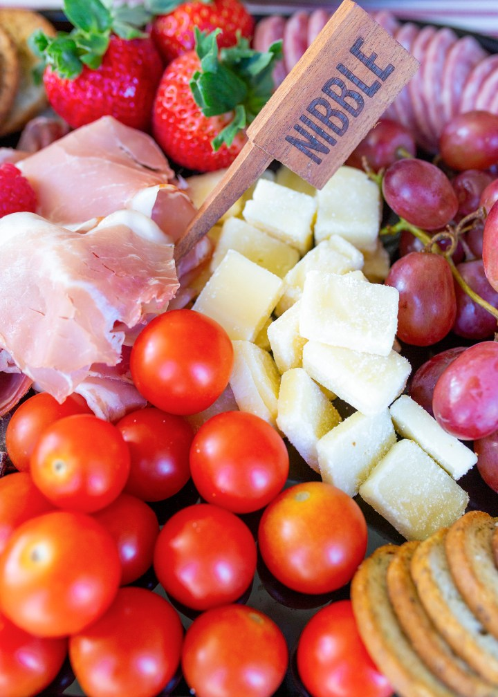The easiest cheese, fruit and meat board