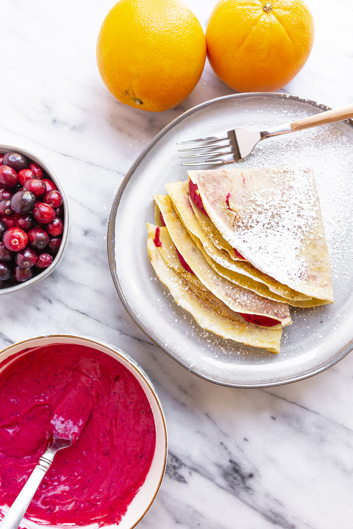 Crepes filled with Cranberry, Orange and Mascarpone. Homemade, simple, delicious!