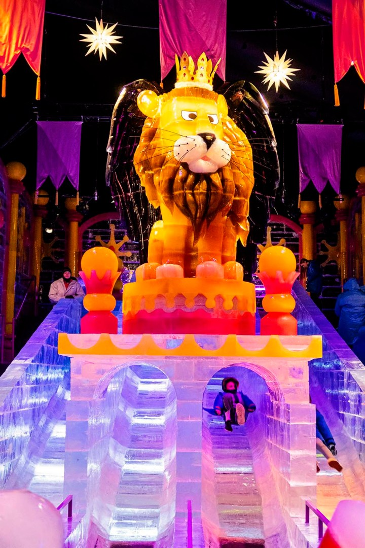 Lion sculpture and ice slides At ICE! at the Gaylord Rockies Resort in Colorado
