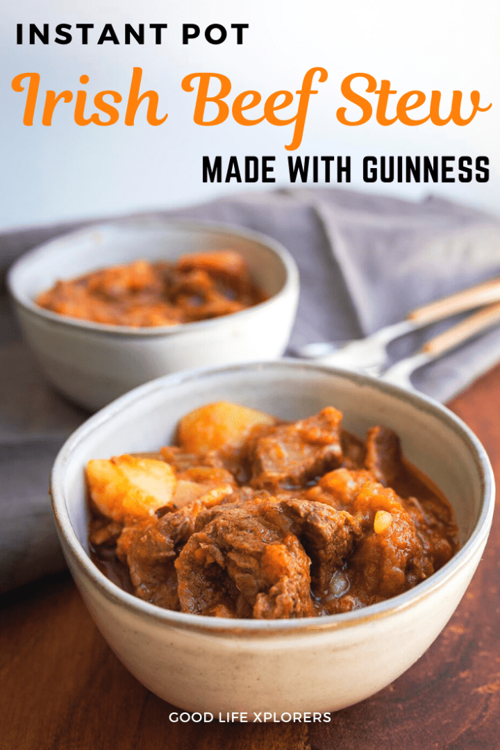 Easy Irish Beef Stew with Guinness Stout cooked on the Instant Pot