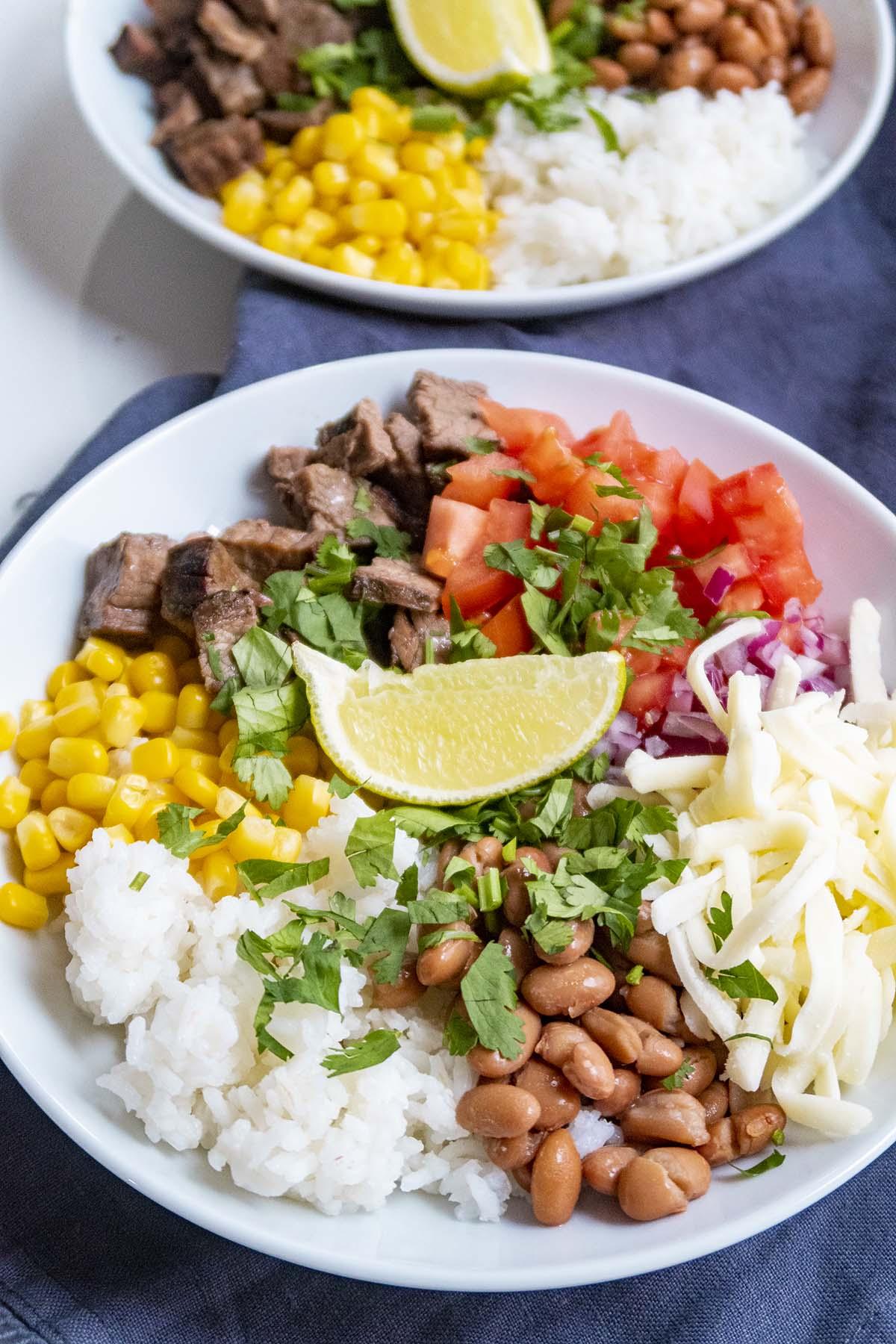 Two bowls of Homemade Burrito Bowl