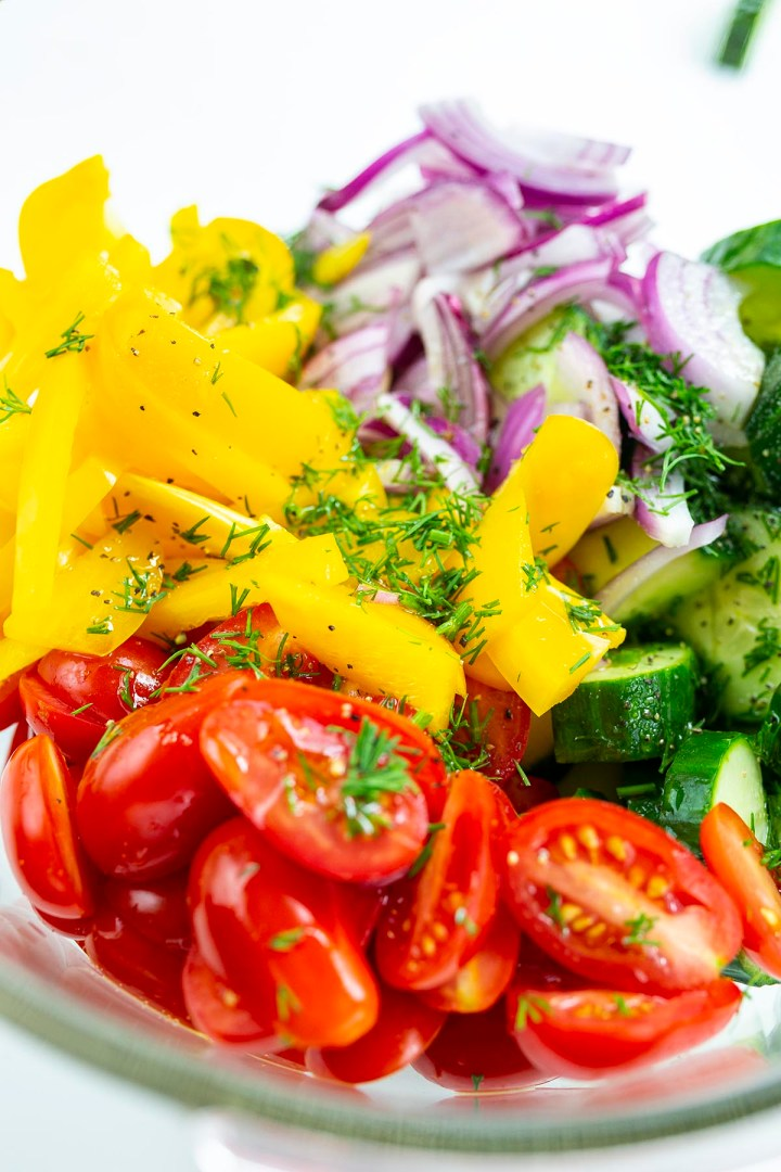 Cucumber Tomato Salad with yellow bell peppers, red onions and dill