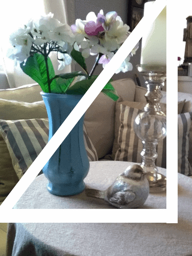 A Beautiful Vignette. Groiping of a vase, candlestick, and a glass bird #Vignette #falldecor