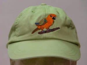 Cap with Conure embroidered on the front