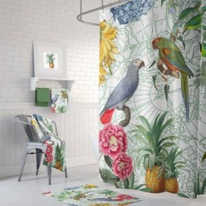 parrot shower curtain, rug and towel