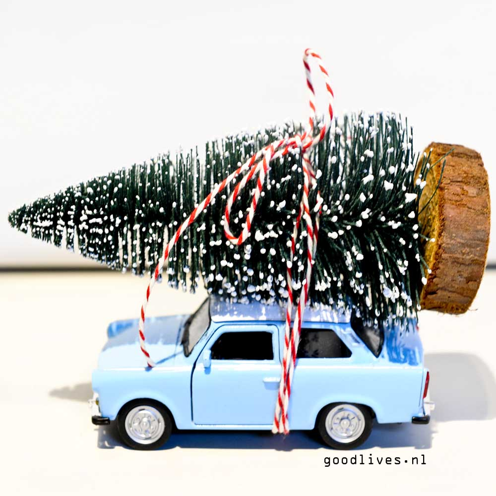 DIY little car with Christmas tree on roof on Goodlives.nl