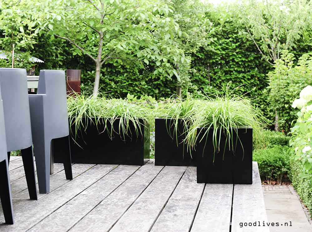 Planters ready on our terrace, Goodlives.nl