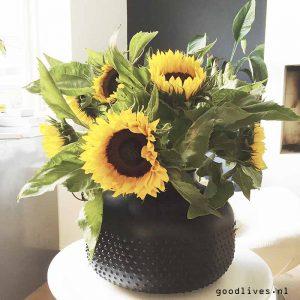 Zonnebloemen in zwart gespoten pot Action