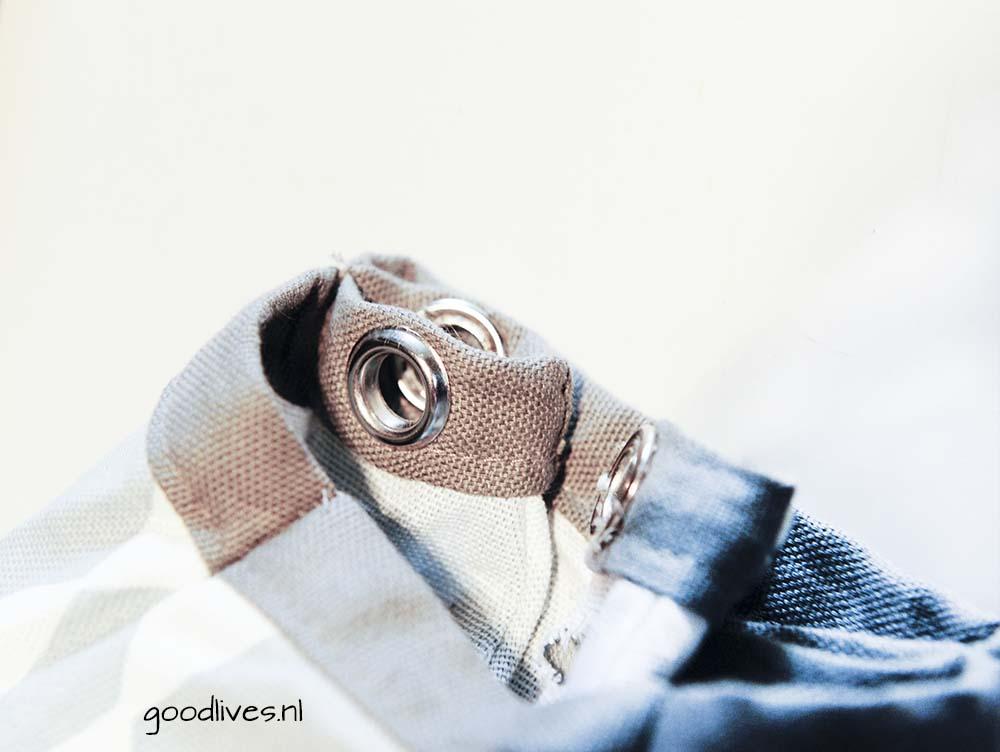 DIY Tipi gaten om het doek omhoog te houden van de tipi zijn klaar, Goodlives.nl